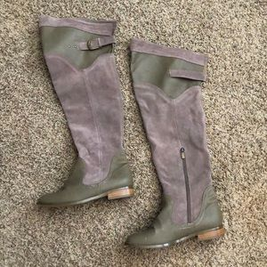 Over the knee boots taupe boots.